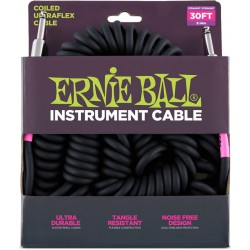 Ernie Ball Cable Spirale Ultrafex Jacks droit 9m