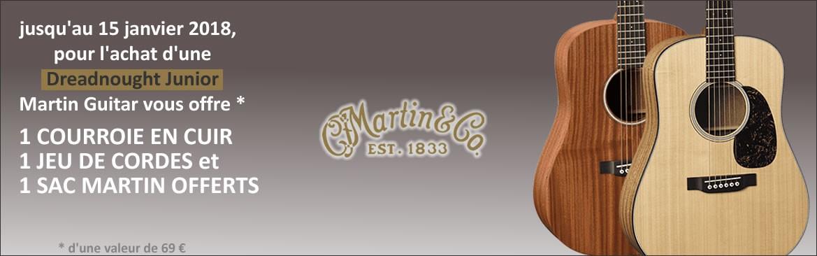 Opération Martin Junior Dreadnought: jusqu'au 15 janvier 2018, pour l'achat d'une Dreadnought Junior, Martin Guitar vous offre une courroie en cuir, un jeu de cordes et un sac Martin Guitar, d'une valeur totale de 69 € TTC.