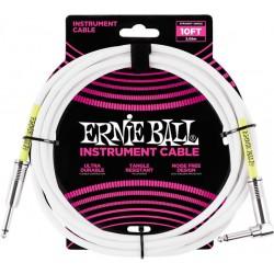 Ernie Ball Câble Ultraflex jacks droit et coudé, 3m - Blanc