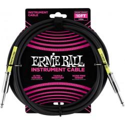 Ernie Ball Câble Ultraflex jacks droits, 3m - Noir