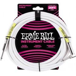 Ernie Ball Câble Ultraflex jacks droit et coudé, 6m - Blanc