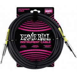Ernie Ball Câble Ultraflex jacks droits, 6m - Noir