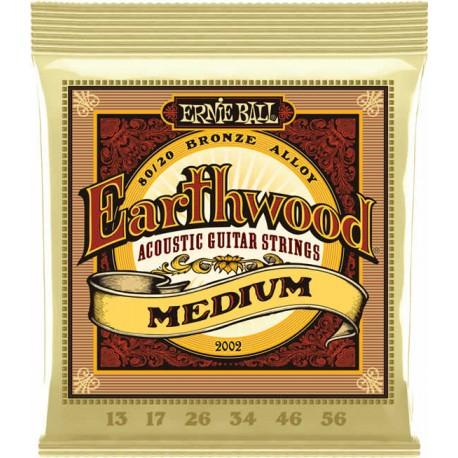 Ernie Ball Jeu de Cordes Earthwood Medium 13-56
