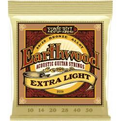 Ernie Ball Jeu de Cordes Earthwood Acoustic Extra Light 10-50