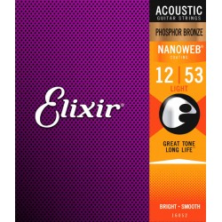 Elixir 16052 Nanoweb Phosphor Bronze Light 12-16-24-32-42-53
