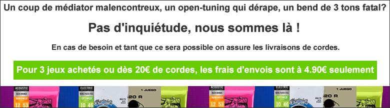 Pour 3 jeux achetés ou 20€ de cordes, les frais d'envois sont à 4.90e seulement